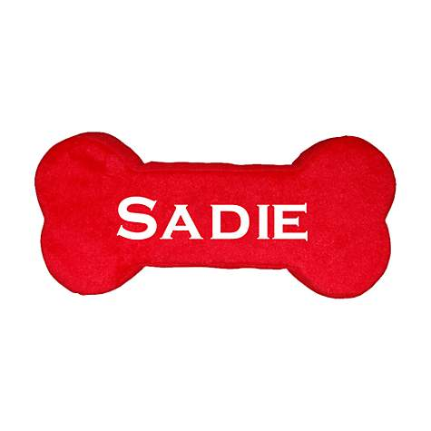 PrideBites Personalized Dog Bone Toy in Red