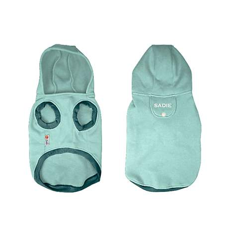 PrideBites Personalized Sleeveless Dog Hoodie in Teal