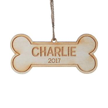 Custom Personalization Solutions Personalized Dog Bone Wood Ornament