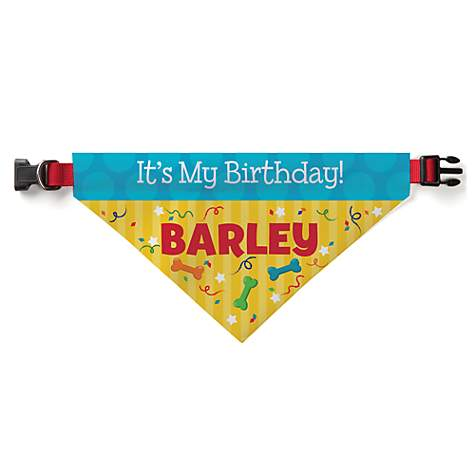 Custom Personalization Solutions It's My Birthday Personalized Pet Bandana Collar Cover