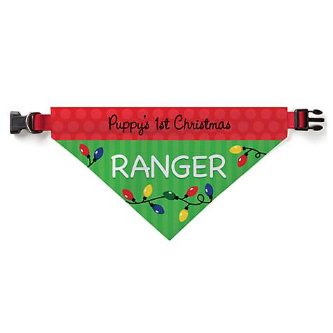 Custom Personalization Solutions Personalized Puppy's 1st Christmas Pet Bandana Collar Cover
