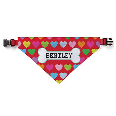 Custom Personalization Solutions Personalized Rainbow Hearts Dog Bandana Collar Cover