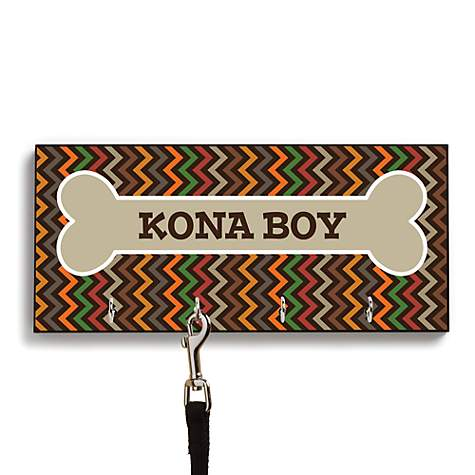 Custom Personalization Solutions Personalized Chevron Leash Hanger Brown