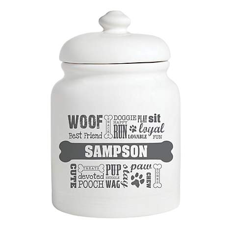 Custom Personalization Solutions Personalized Dog Words Treat Jar Gray