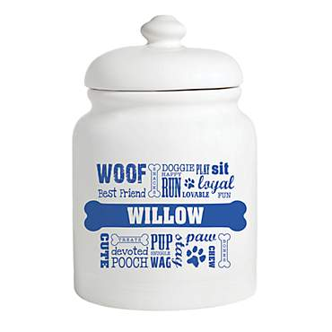 Custom Personalization Solutions Personalized Dog Words Treat Jar Blue