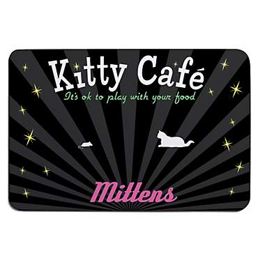 Custom Personalization Solutions Personalized Kitty Cafe Meal Mat Black