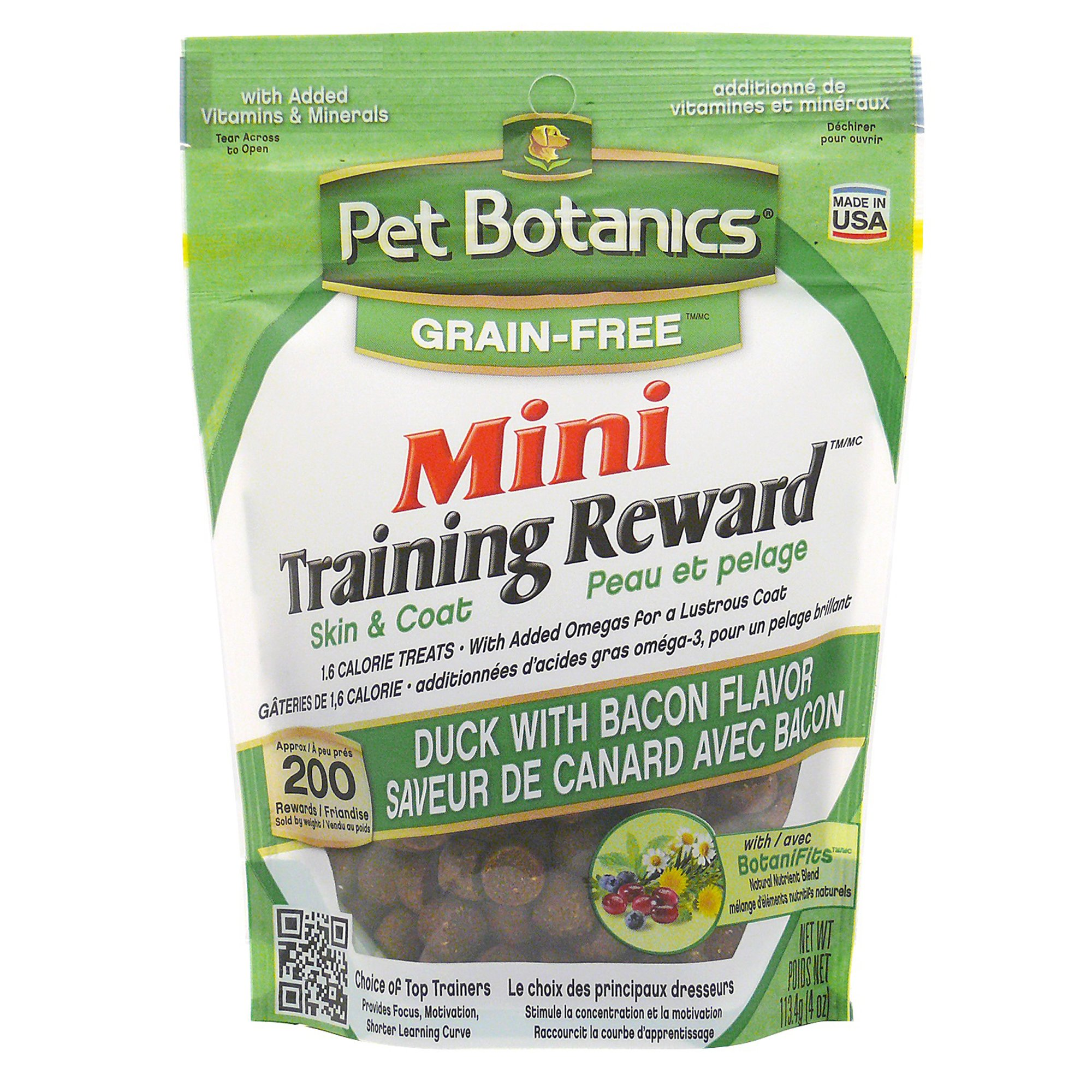 Image of Pet Botanics Grain Free Mini Training Reward Duck & Bacon Flavor Dog Treats, 4 oz. bag, 200 count