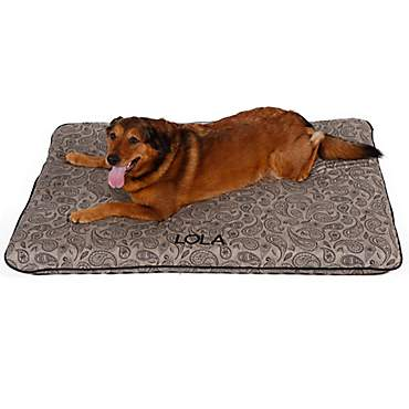 Doctors Foster + Smith Personalized Deluxe Ortho Taupe Paisley Dog Beds