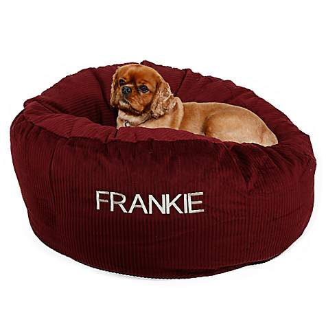 Doctors Foster + Smith Personalized Deluxe Warm & Cuddly Slumber Ball Scarlet Dog Beds