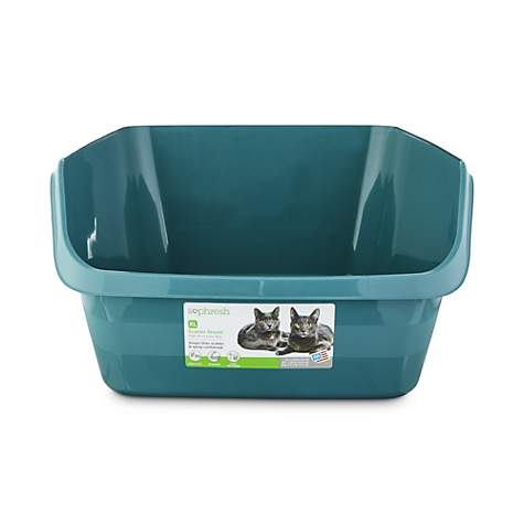 So Phresh Teal Scatter Shield High-Back Litter Box for Cat