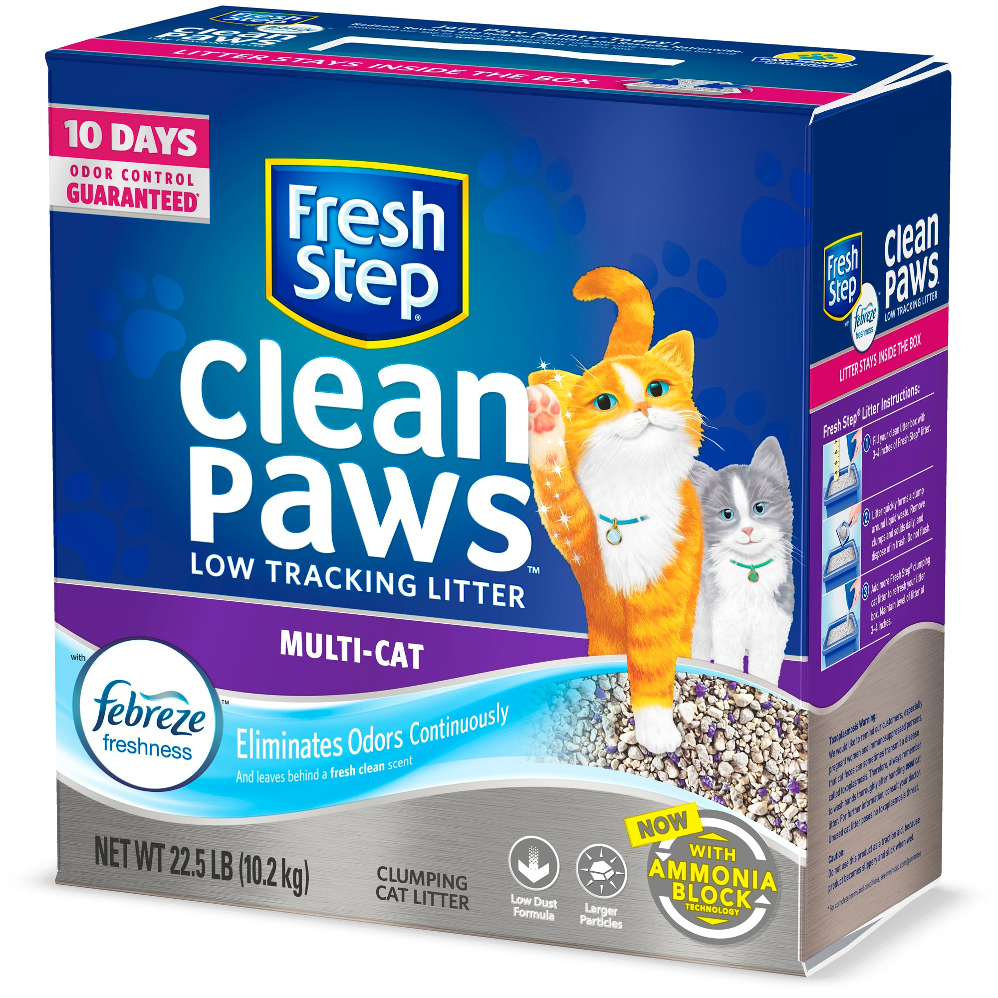 Fresh Step Clean Paws Scented with the Power of Febreze Clumping Multi-Cat Litter, 22.5 lbs.