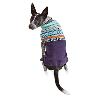 Bond & Co. Mint Green and Navy Fair Isle Dog Sweater
