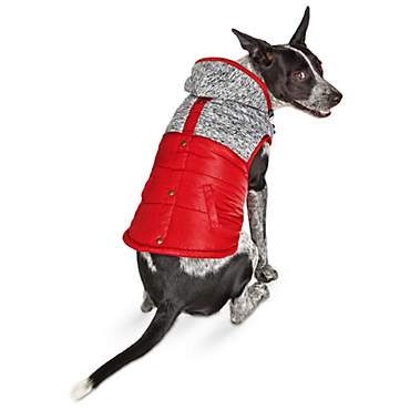 Bond & Co. Red and Marled Grey Knit Hooded Dog Coat