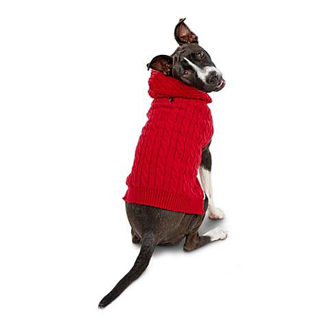 Bond & Co. Red Cable-Knit Hooded Dog Sweater
