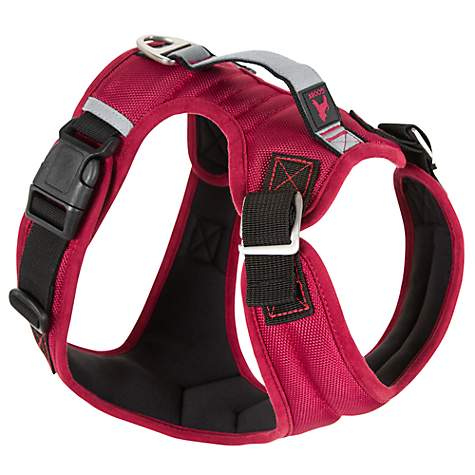 Gooby Pioneer Dog Harness With Control Handle & Seat Belt Restrain Capability Red
