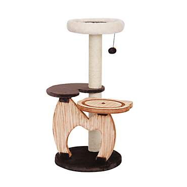 PetPals Group Rondure Natural Wood Three Level Cat Tree With Perches