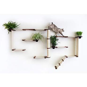 CatastrophiCreations The Cat Mod Gardens Complex with Planters for Cats in English Chestnut