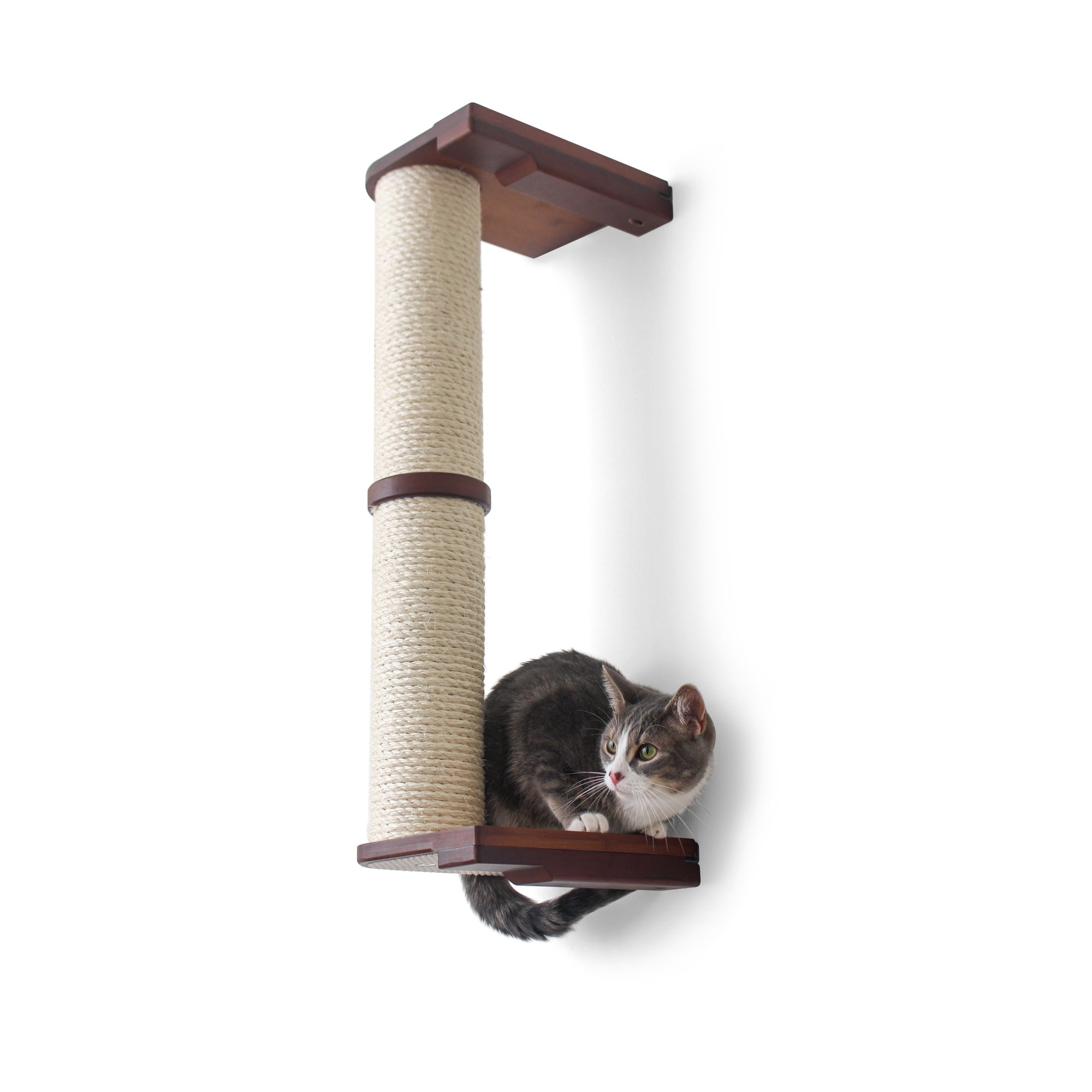 """Catastrophicreations The Cat Mod 28"""" Wall Mounted Sisal Pole For Cats In English Chestnut, 8 In W X 33 In H, 16 Lb"""