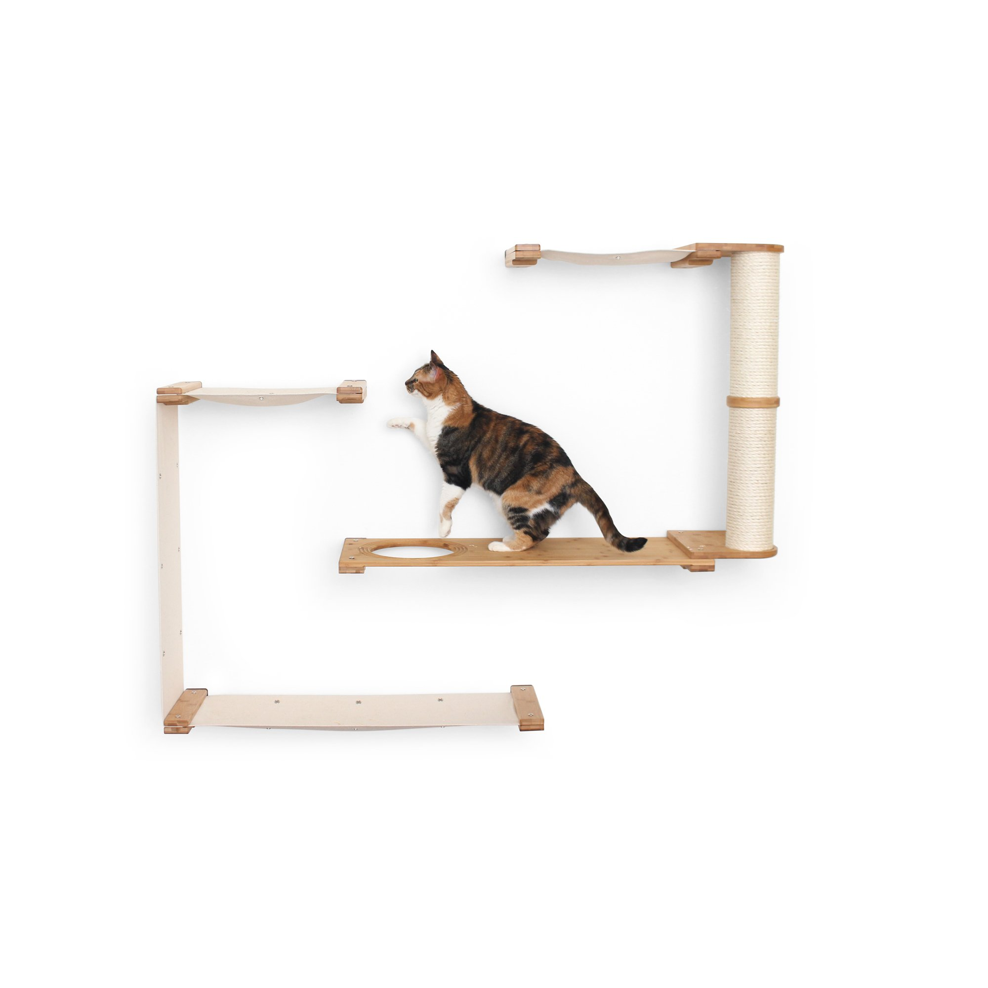 Catastrophicreations The Cat Mod Dakota Hammocks With Scratching Pole For Cats In English Chestnut, 55 In W X 45 In H, 32 Lb