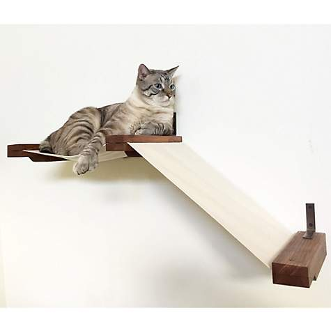 CatastrophiCreations Small Fabric Raceway Lounger Hammocks for Cats in English Chestnut