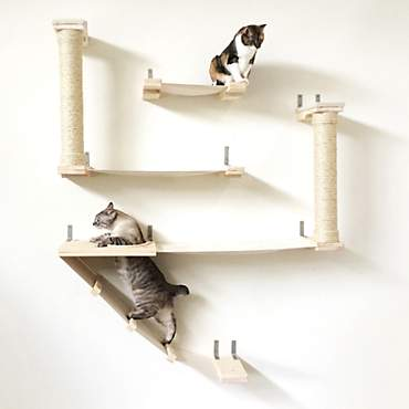 CatastrophiCreations The Roman Cat Fort Hammock Set for Cats in English Chestnut