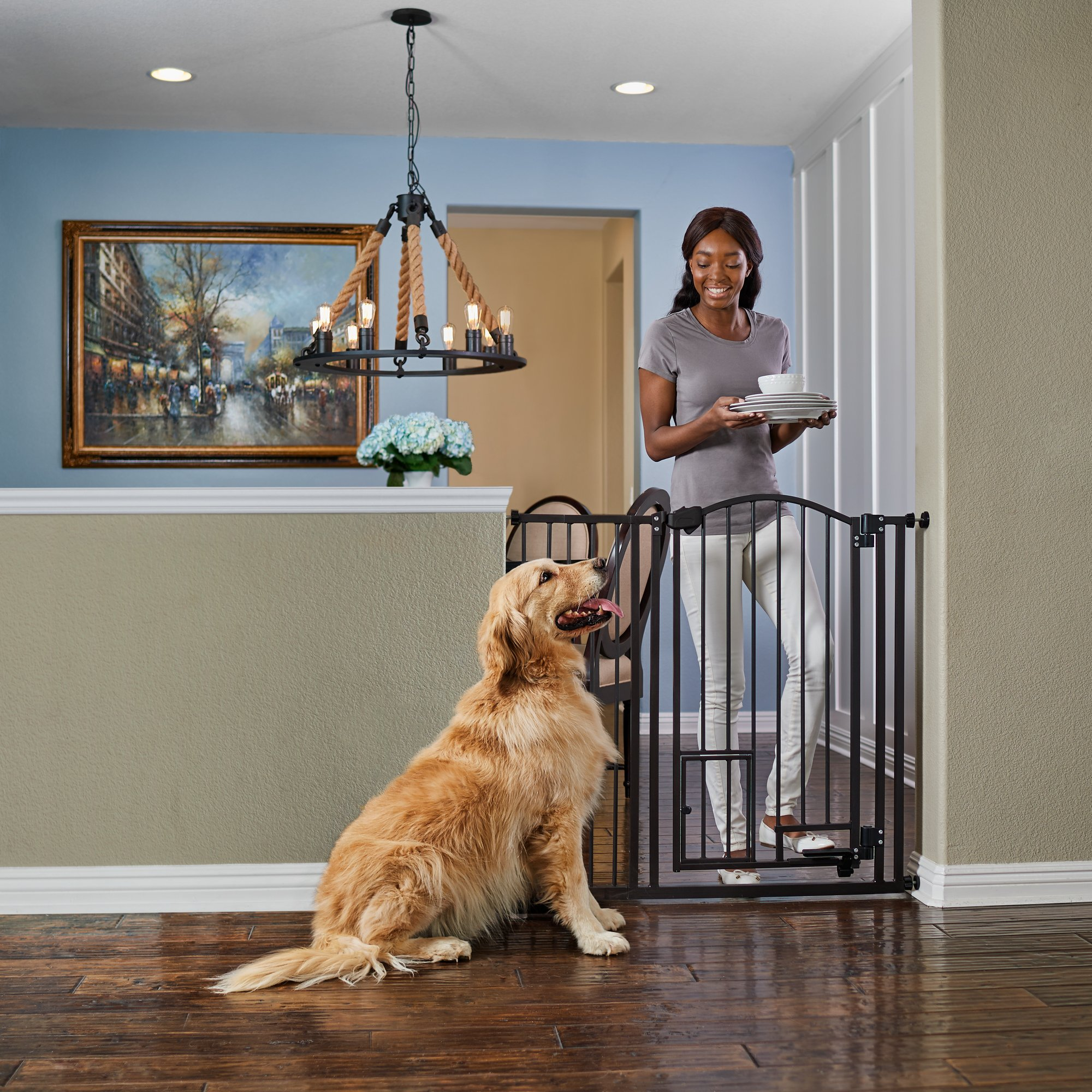 """You & Me Extra Tall Archived Hands Free Pet Gate, 29"""" 43.5"""" W X 38.5"""" H, 15 Lbs"""