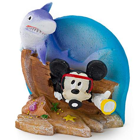 Penn Plax Mickey with Treasure Chest and Shark Resin Decor