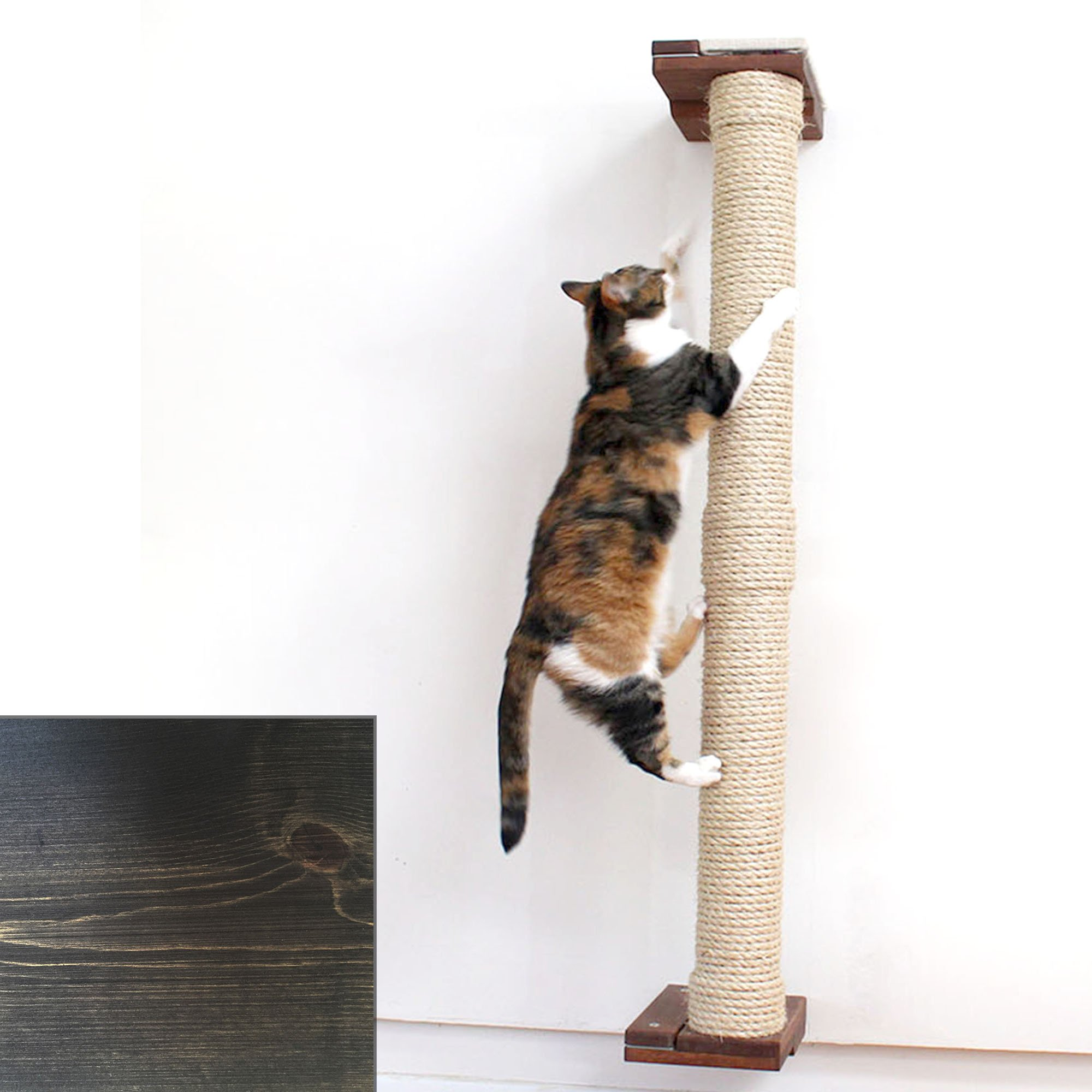 """Catastrophicreations The Cat Mod 48"""" Wall Mounted Sisal Pole For Cats In Onyx, 8 In W X 53 In H, 18 Lb"""