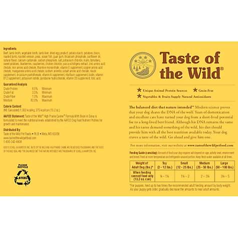 Taste Of The Wild Dog Food Reviews >> Taste Of The Wild High Prairie Grain Free Roasted Bison Venison Stew Dog Food 13 2 Oz Case Of 12