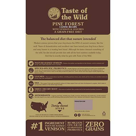 Taste Of The Wild Dog Food Reviews >> Taste Of The Wild Pine Forest Grain Free Roasted Venison Dry Dog Food 28 Lbs