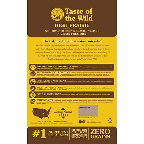 Taste Of The Wild Dog Food Reviews >> Taste Of The Wild High Prairie Grain Free Roasted Bison Venison Dry Dog Food 28 Lbs
