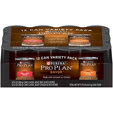 Purina Pro Plan Savor With Real Beef and Chicken Dog Food Variety Pack