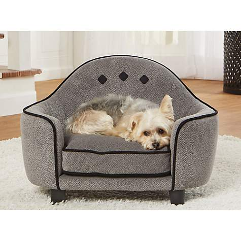 Enchanted Home Pet Ultra Plush Headboard Diamond Grey Sofa For Dog