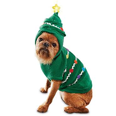 Holiday Tails Light Up Royal Fir Dog Hoodie