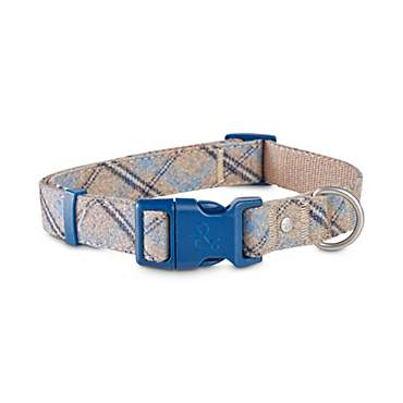 Bond & Co. Taupe and Blue Tartan Dog Collar