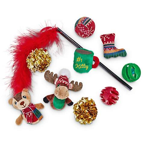 Holiday Tails Nice Kitty Cat Toy Gift Set
