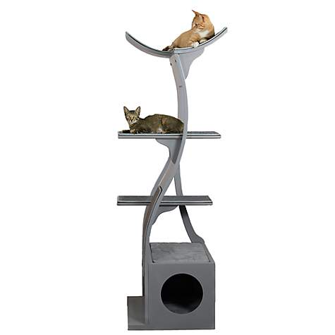 The Refined Feline Lotus Tower Cat Tree in Smoke