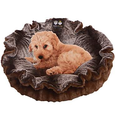 Bessie & Barnie Ultra Plush Deluxe Frosted Willow Godiva Brown Pet Cuddle Pod Cat Bed