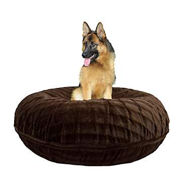Bessie & Barnie Extra Plush Faux Fur Bagel Pet Godiva Brown Dog Bed