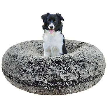 Bessie & Barnie Extra Plush Faux Fur Bagel Pet Midnight Frost Dog Bed