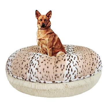 Astonishing Bessie Barnie Extra Plush Faux Fur Bagel Pet Blondie Aspen Snow Leopard Dog Bed 42 X 42 Theyellowbook Wood Chair Design Ideas Theyellowbookinfo