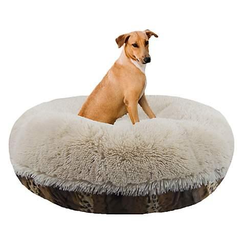 Bessie Barnie Extra Plush Faux Fur Bagel Pet Blon Wild Kingdom Dog Bed Petco