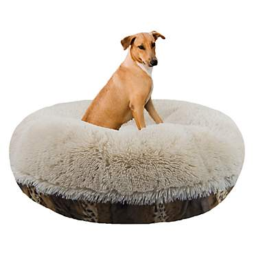Bessie & Barnie Extra Plush Faux Fur Bagel Pet Blondie Wild Kingdom Dog Bed