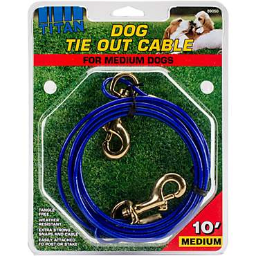 Petlinks System Blue Medium Cable Dog Tie Out, For Dogs Up to 50 LBs