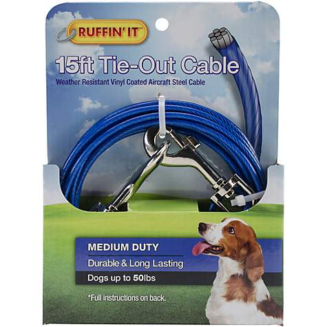 Petlinks System Blue Medium Duty Cable Dog Tie Out, For Dogs Up to 50 LBs