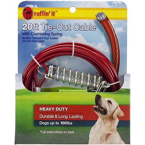 Petlinks System Red Heavy Duty Cable Dog Tie Out With Cushioning Spring, For Dogs Up to 100 LBs