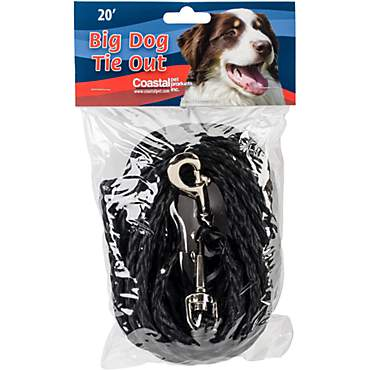 Petlinks System Black Coastal Poly Big Dog Tie Out