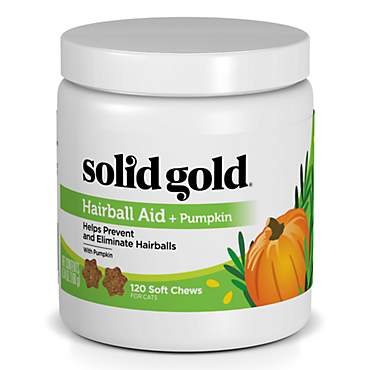 Solid Gold Hairball Aid Chews for Cats With High-Fiber, Natural, Holistic Grain-Free Supplement with Pumpkin