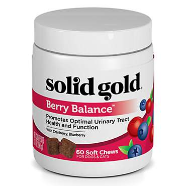 Solid Gold Berry Balance Supplement Chews for Urinary Tract Health With Cranberries & Blueberries for Dogs
