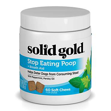 Solid Gold Stop Eating Poop Chews for Dogs with Coprophagia; Natural Supplement with Peppermint and Parsley Oil